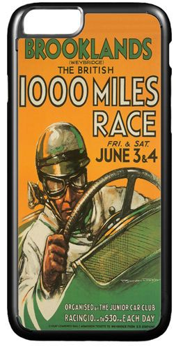 Brooklands Car Race Vintage Poster Cover/Case Fits iPhone 7/7S 6/6S 6+/6+S. Deco