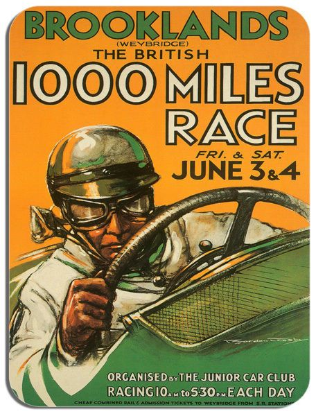 Brooklands Car Race Vintage Poster High Quality Mouse Mat. Art Deco Mouse Pad