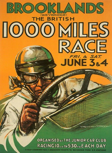 Brooklands Car Race Vintage Poster T-Shirt Adult, Ladies & Kids Sizes 1000 Miles