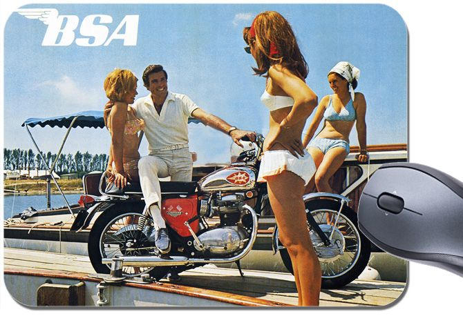 BSA Motorbike Mouse Mat Classic 60s Action Man & Ladies Motorcycle.  Mouse Pad