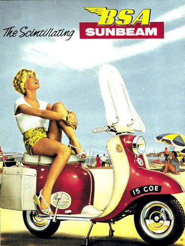 BSA Sunbeam 1960 Motorcycle T-Shirt Gents Ladies & Kids Sizes. Scooter Ad Biker