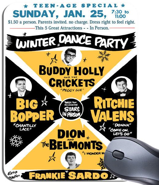 Buddy Holly Big Bopper Rock n Roll Poster Winter Dance Party Mouse Mat Mouse Pad