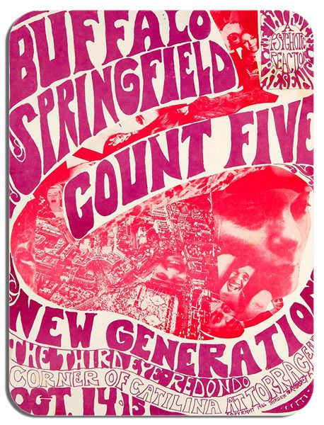 Buffalo Springfield Count Five Concert  Poster Mouse Mat Psychedelic Mouse pad