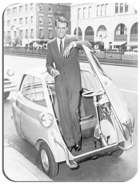 Cary Grant In A Bubble Car Mouse Mat.  Classic BMW Isetta Car Mousepad