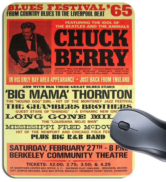 Chuck Berry & Big Mama Thornton Poster Mouse Mat. Blues Festival 1965 Mouse Pad