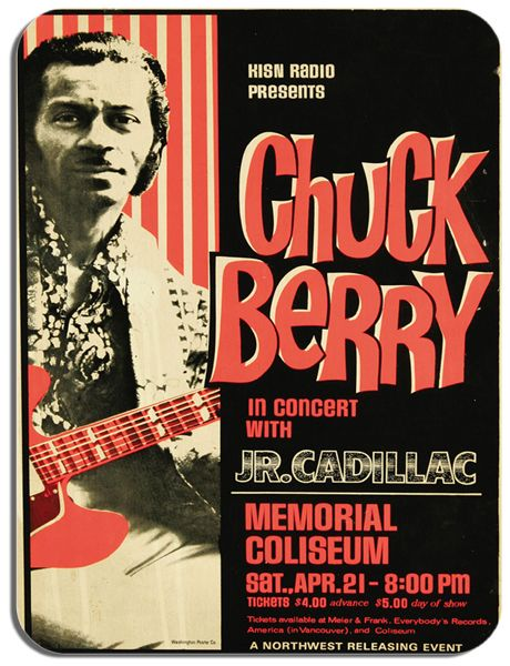 Chuck Berry Concert Poster Mouse Mat.  Memorial Coliseum Rock N' Roll Mouse Pad