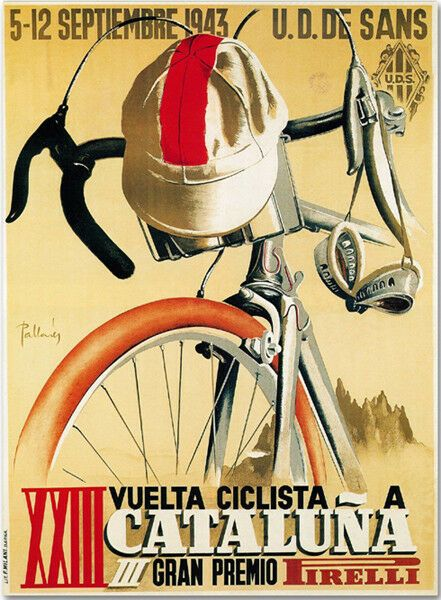 Ciclista a Cataluna 1943 Cycle Race Poster T-Shirt. Classic Bike, Vintage Cycling Race Bicycle Gift