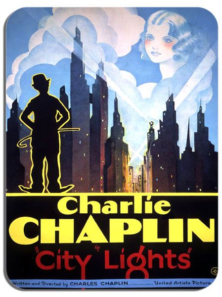 City Lights Charlie Chaplin Mouse Mat. High Quality Film Movie Poster Mouse Pad