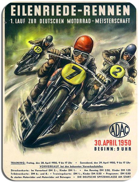Classic German Motorcycle Race Vintage Poster Mouse Mat Motorbike Mouse Pad. GP