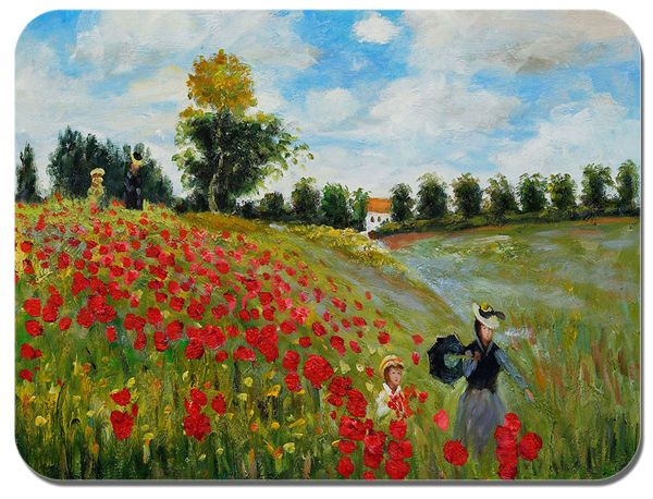 Claude Monet Poppy Field in Argenteuil Mouse Mat. Quality Art Print Mouse Pad