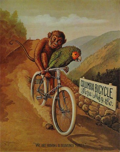 Columbia Bicycle Parrot & Monkey T-Shirt. Gents Ladies Kids Sizes. Bike Cycling