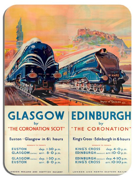 Coronation Scot Vintage Poster Mouse Mat. Glasgow Train Railway Ad Mouse Pad