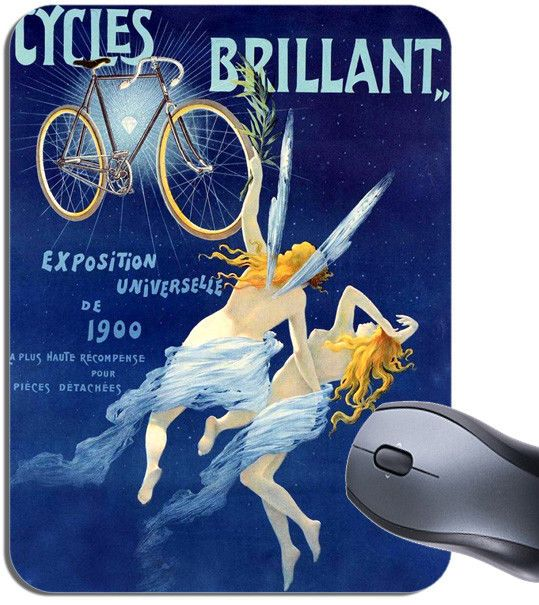 Cycles Brillant Vintage Poster Mouse Mat. Classic French Bike Advert Mouse Pad