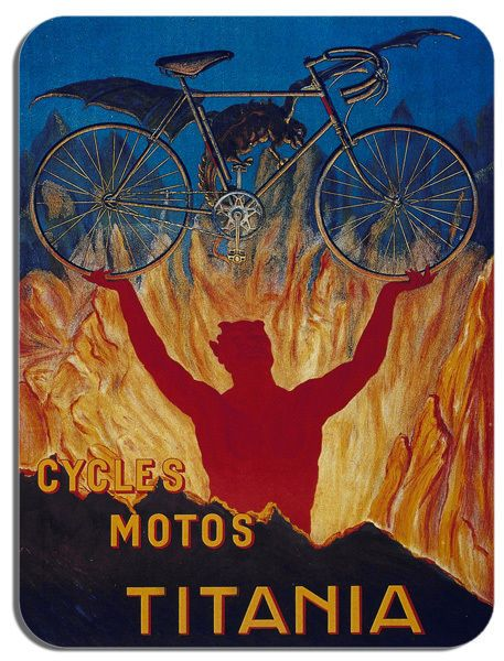 Cycles Motos Titania Vintage Bicycle Mouse Mat. Cycling Poster Bike Mouse pad
