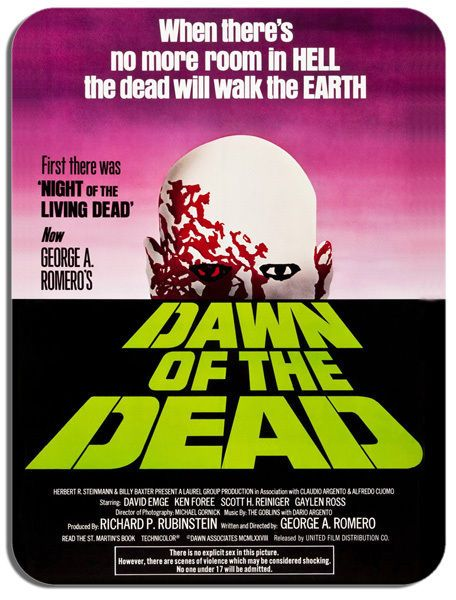 Dawn Of The Dead Vintage Movie Poster Mouse Mat. Film Novelty Mouse pad