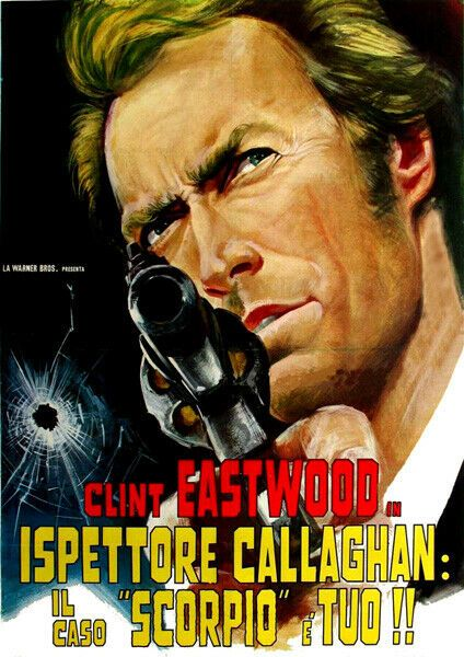 Dirty Harry Vintage Italian Movie Poster T-Shirt.  Clint Eastwood Film Gift 12 Sizes