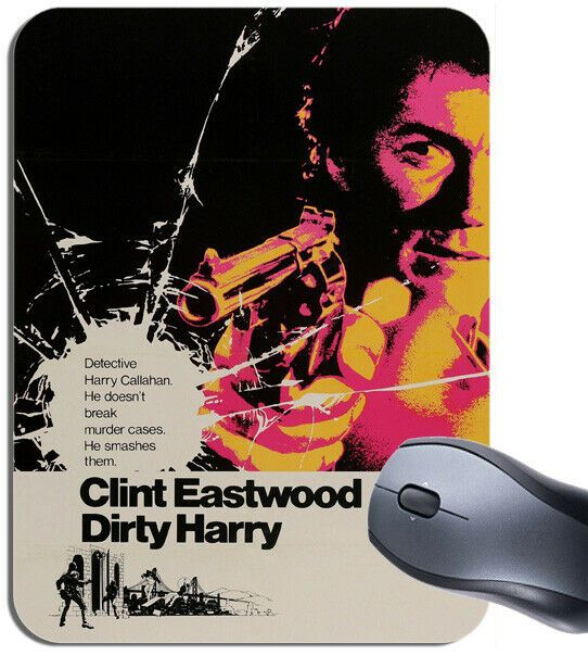 Dirty Harry Vintage Movie Poster Mouse Mat. Classic Clint Eastwood Film Mouse Pad Gift