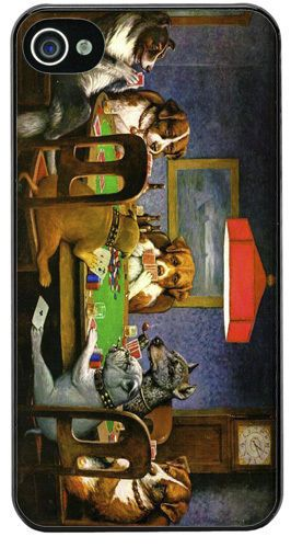 Dogs Playing Poker High Quality Cover/Case For iPhone 4/4S Cassius Coolidge Art