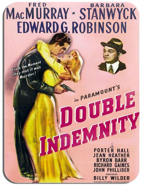 Double Indemnity Vintage Movie Poster Mouse Mat. Classic Film Noir Mouse Pad