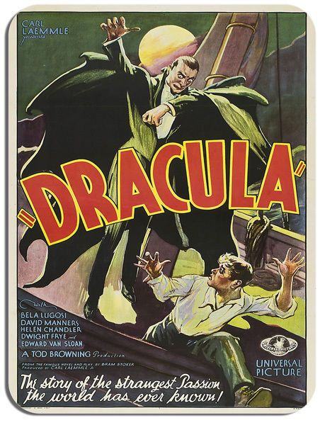 Dracula Mouse Mat. Horror Movie Poster Film Novelty Mouse pad. Bela Lugosi Gift