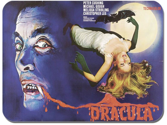 Dracula Mouse Mat. Horror Movie Poster Film Novelty Mouse pad. Christopher Lee