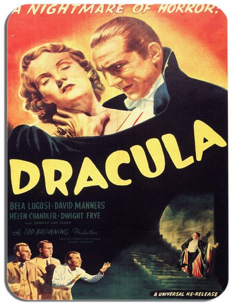 Dracula Vintage Movie Poster Mouse Mat. Classic Horror Cinema Mouse Pad