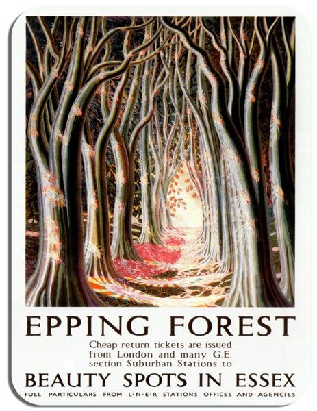 Epping Forest Vintage Railway Poster Mouse Mat Essex Train Travel Mouse Pad Gift