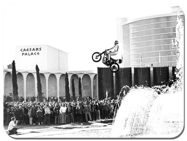 Evel Knievel Caesars Palace Jump Vintage Poster Mouse Mat Motorcycle Mousepad