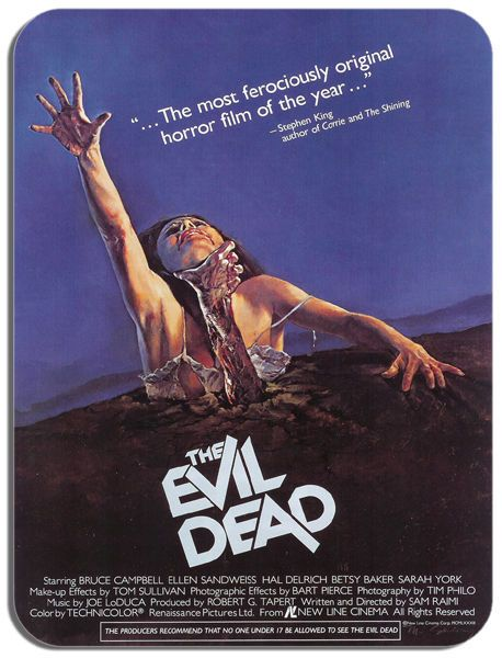 Evil Dead Vintage Film Poster Mouse Mat. Raimi Campbell Horror Movie Mouse Pad