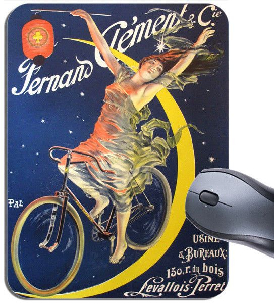 Fernand Clement Vintage Poster Mouse Mat. Classic French Bike Advert Mouse Pad