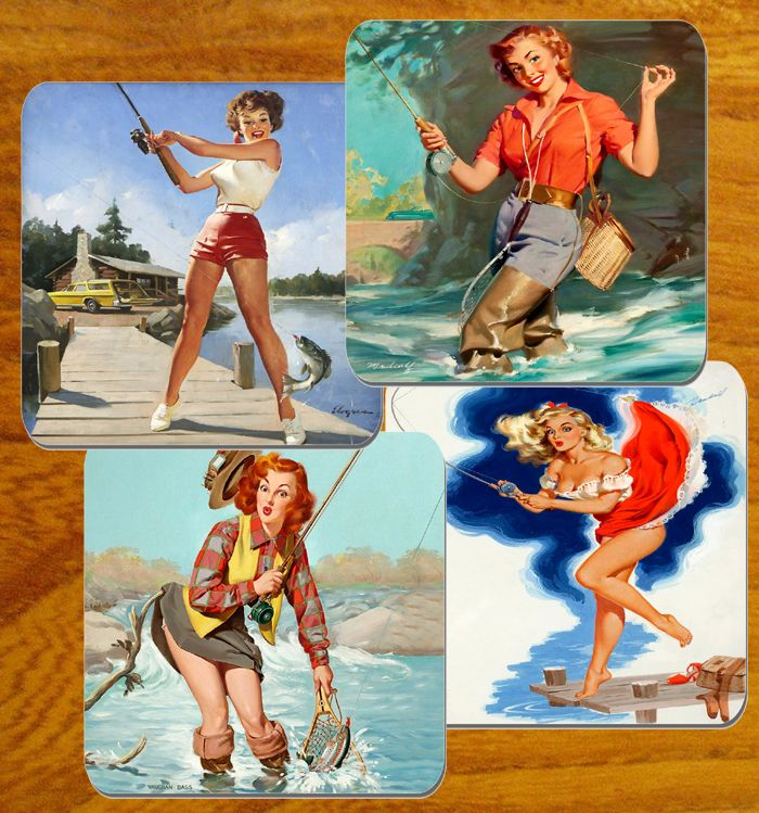 Fishing Pin Girl Up Poster Coasters Set Of 4. High Quality Cork. Angling Gift