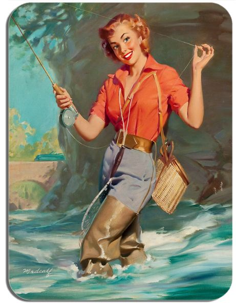 Fishing Pin Up Poster Mouse Mat 2#. High Quality Novelty Kitsch Mouse Pad