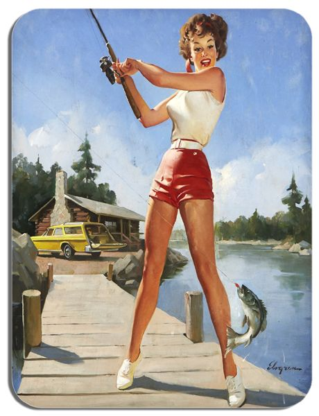 Fishing Pin Up Poster Mouse Mat 3#. High Quality Novelty Kitsch Mouse Pad