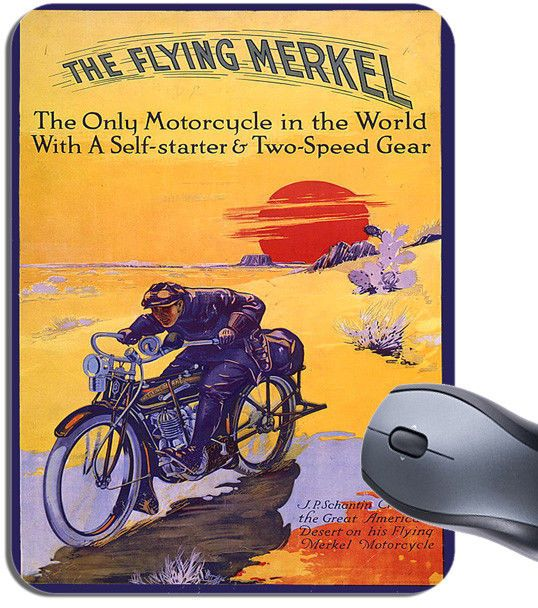 Flying Merkel Motorcycle Poster Mouse Mat. Motorbike Mouse Pad