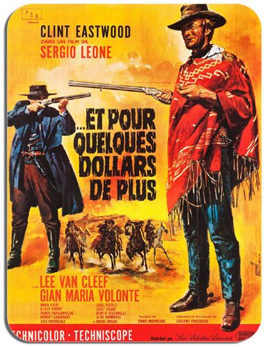 For A Few Dollars More Vintage Movie Poster Mouse Mat Spaghetti Western Mousepad