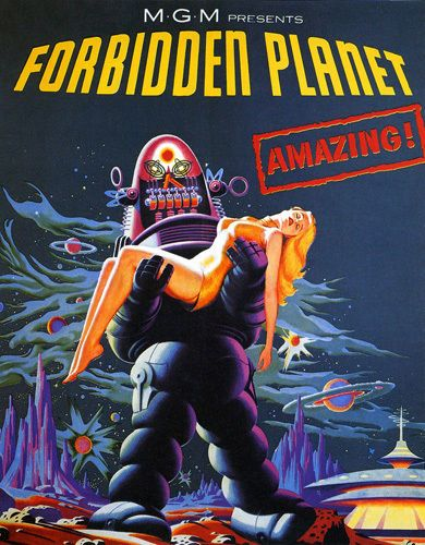 Forbidden Planet Sci-Fi Classic Robot Movie Film T-Shirt Gents Ladies Kids Sizes