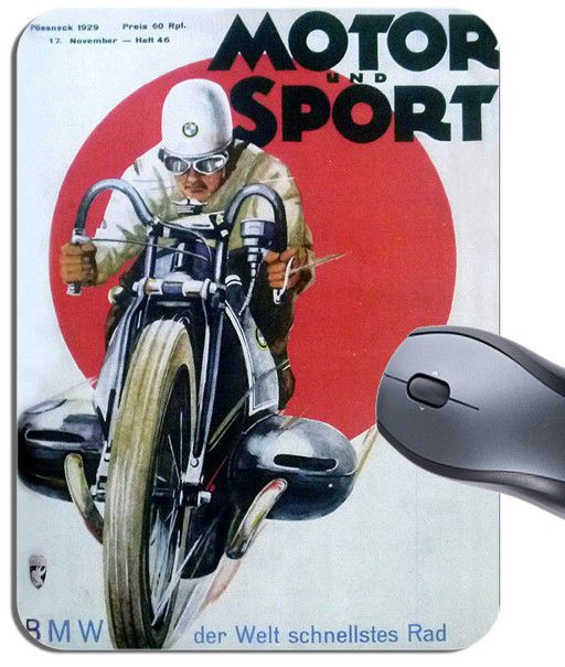 German Motorcycle Race Vintage Poster Mouse Mat. Vintage BMW Motorbike Mouse Pad