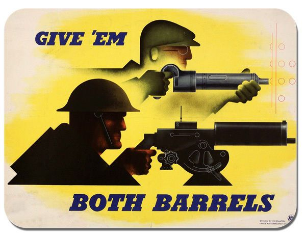 Give Em Both Barrels WWII  Poster Mouse Mat. High Quality War Time Ad Mouse Pad