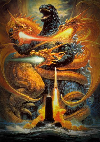Godzilla vs King Ghidorah Monster Vintage Movie Poster T Shirt