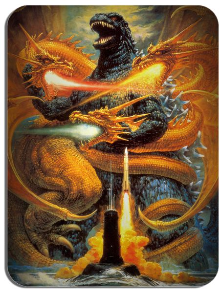 Godzilla vs King Ghidorah Poster Mouse Mat Monster Mouse Pad