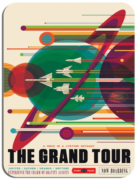Grand Tour of the Solar System Poster Mouse Mat.  Space Exploration Retro  Mouse Pad