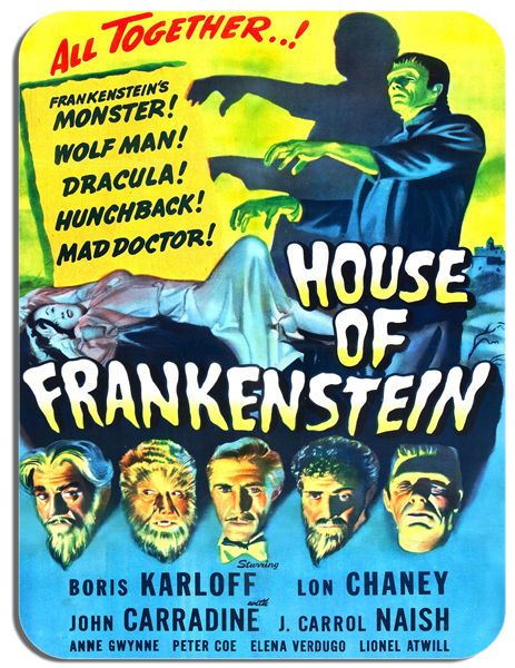 House Of Frankenstein Vintage Film Poster Mouse Mat 1940s Horror Movie Mouse Pad