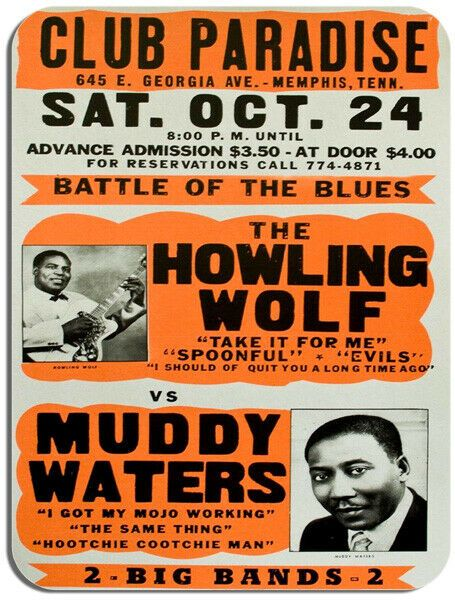 Howling Wolfe VS Muddy Waters Concert Poster Mouse Mat. Club Paradise Mouse Pad