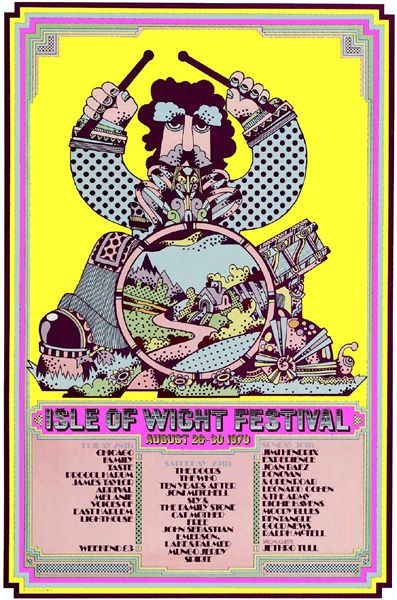 Isle Of Wight Festival 1970 Poster T shirt. Mens, Ladies & Kids Sizes. Jimi Hendrix, doors, Who