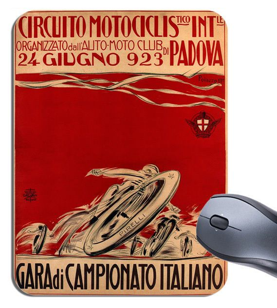 Italian Motorcycle Racing Vintage Poster Mouse Mat. Circuito Motorbike Mouse pad