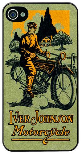 Iver Johnson Vintage Motorcycle Advert Cover/Case For iPhone 4/4S Motorbike Gift