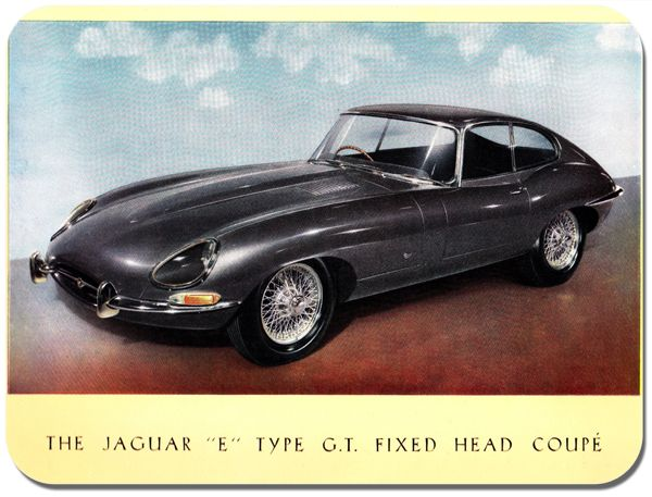 Jaguar E Type GT Fixed Head Coupe Car Advert Mouse Mat. Classic Car Mouse pad