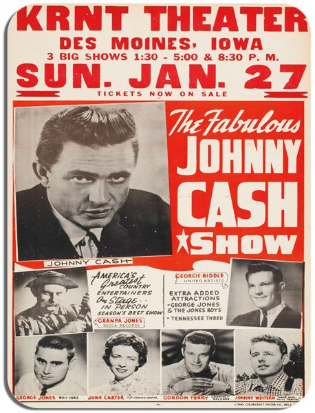 Johnny Cash Show Vintage Concert Poster Mouse Mat. Rock And Roll Mouse Pad Gift