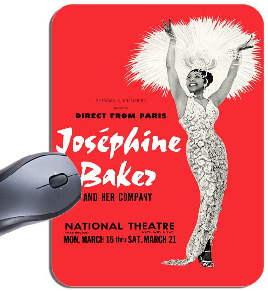 Josephine Baker And Her Company Concert Poster Mouse Mat. High Quality Vintage Jazz Music Mouse Pad