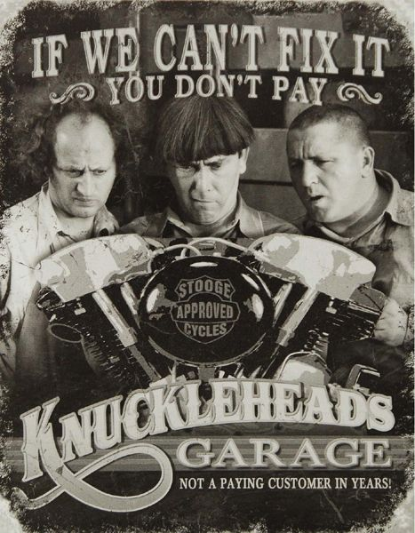 Knuckleheads Garage Vintage Three Stooges  Poster T-Shirt. 12 Sizes. Motorbike Novelty Tee